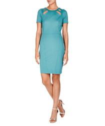 Blue short-sleeved cut-out neck dress