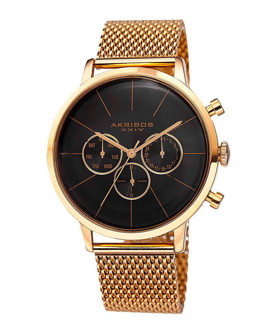 Gold-tone & black dial mesh strap watch Sale - akribos