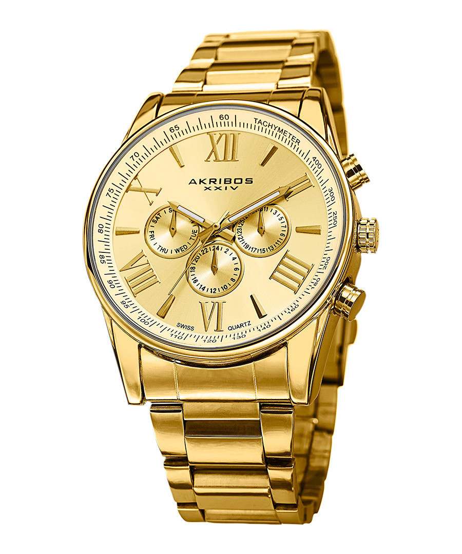 Gold-tone stainless steel watch Sale - akribos
