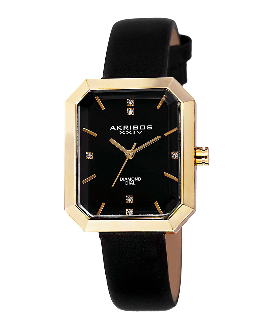 Black leather & diamond dial watch Sale - akribos XXIV