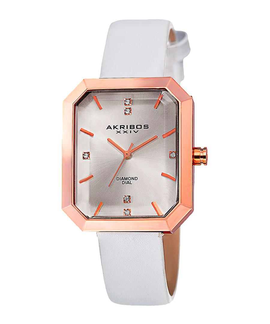 White leather & diamond dial watch Sale - Akribos XXIV