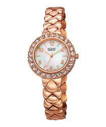 Rose gold-tone mother-of-pearl watch