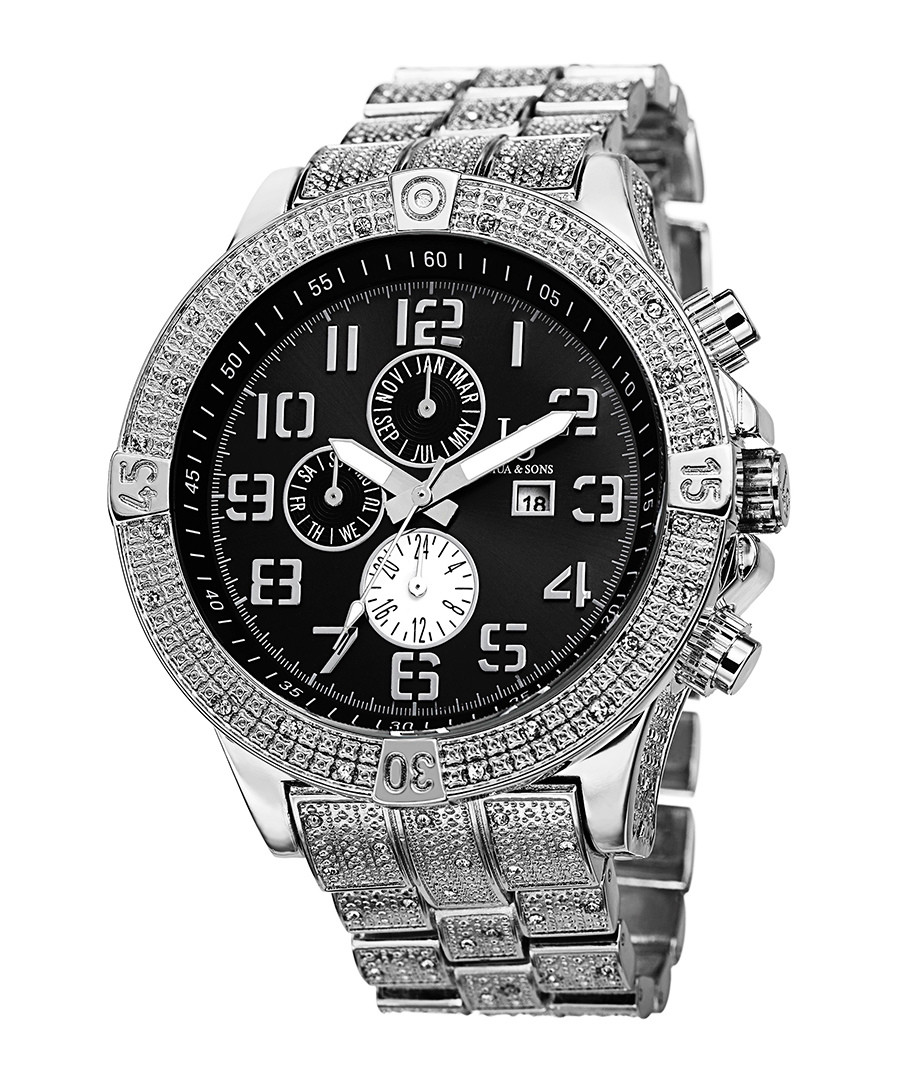 Silver-tone & black dial crystals watch Sale - Joshua & Sons