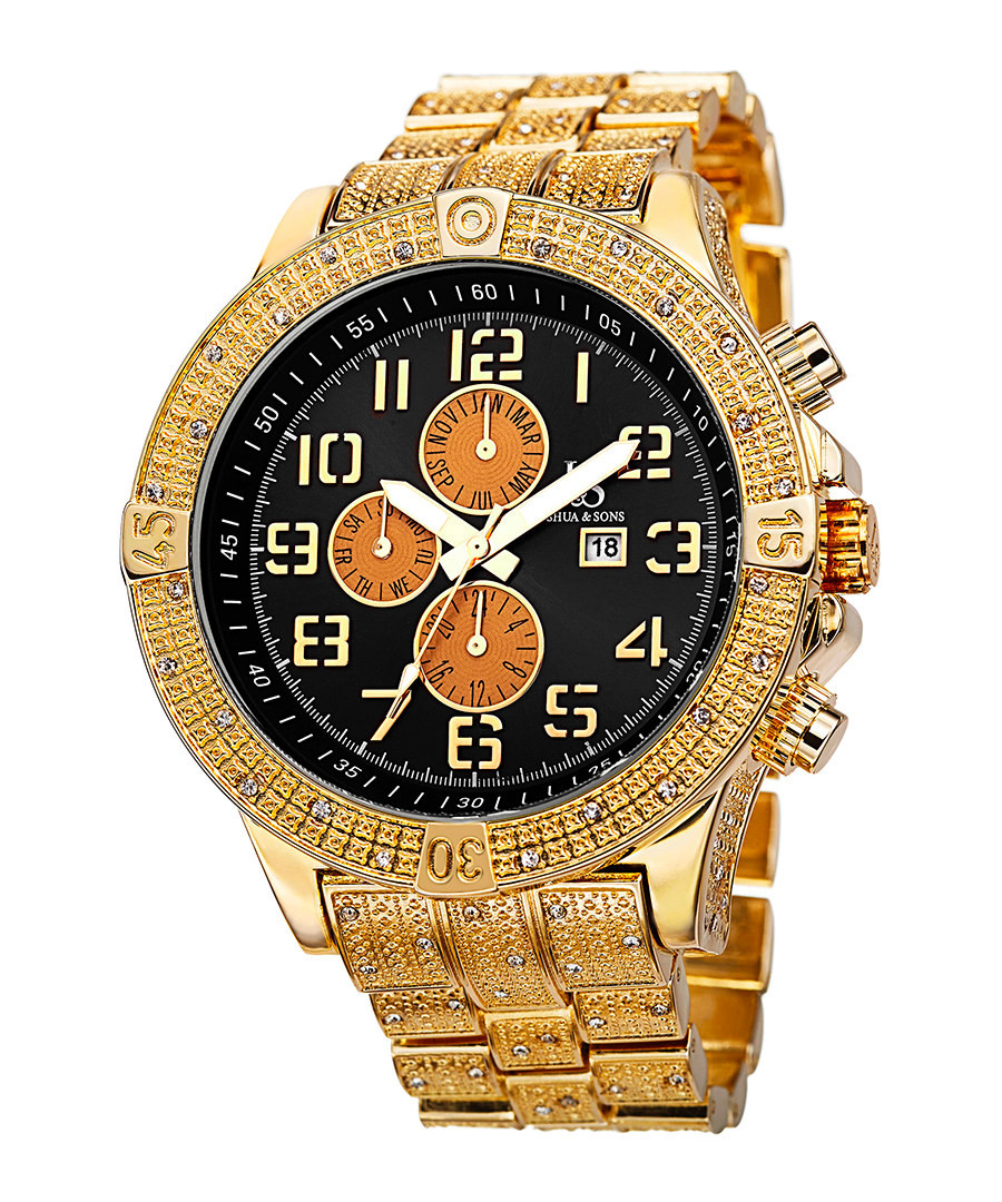 Gold-tone & black dial crystals watch Sale - Joshua & Sons