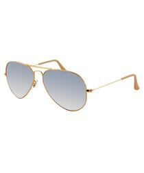 Gold-tone & blue Aviator sunglasses