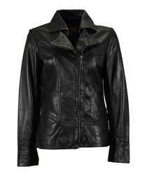 Black blazer hybrid leather jacket