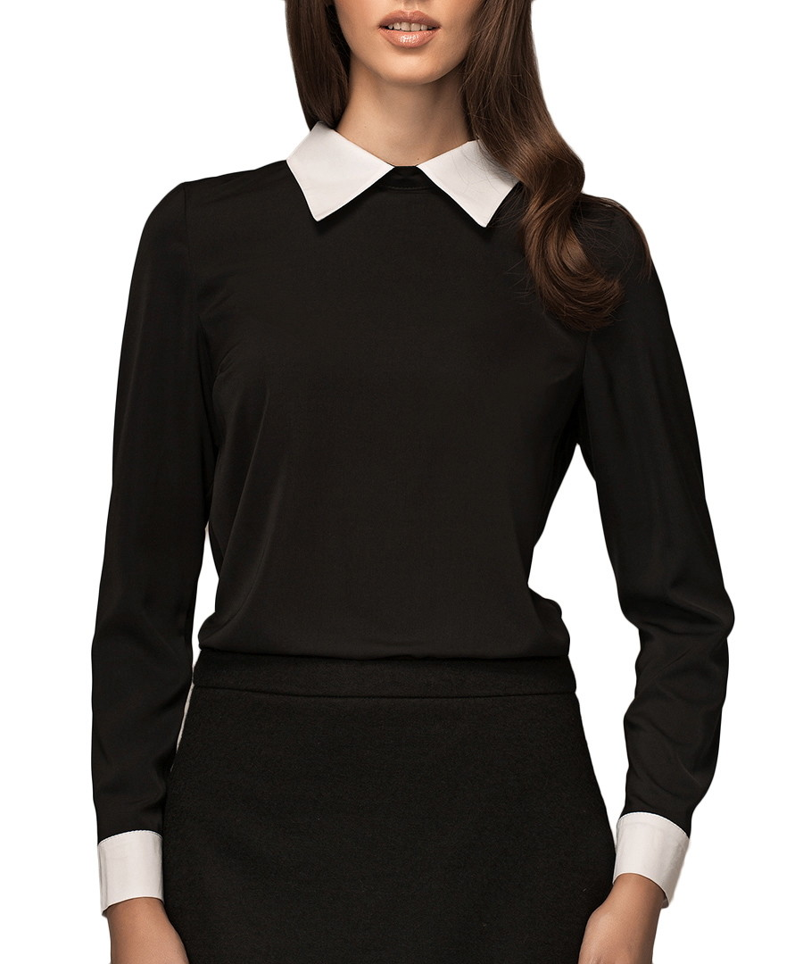 White Blouse Black Collar