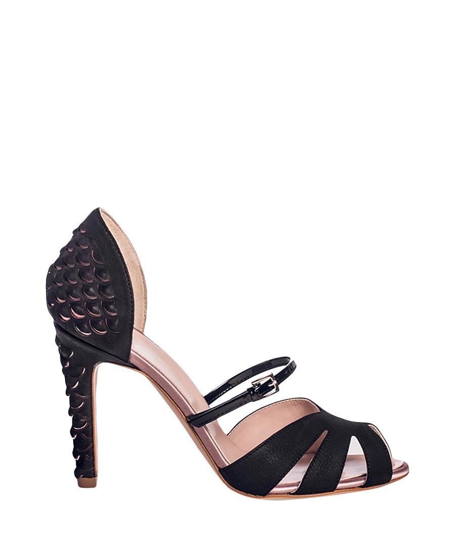 Nina black leather & satin heeled shoes Sale - DE SIENA
