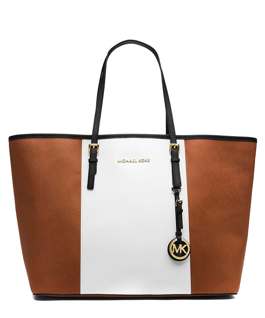 Jet Set tan stripe leather travel tote Sale - Michael Kors