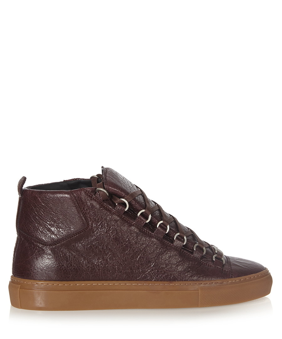 Brown high-top leather trainers Sale - balenciaga