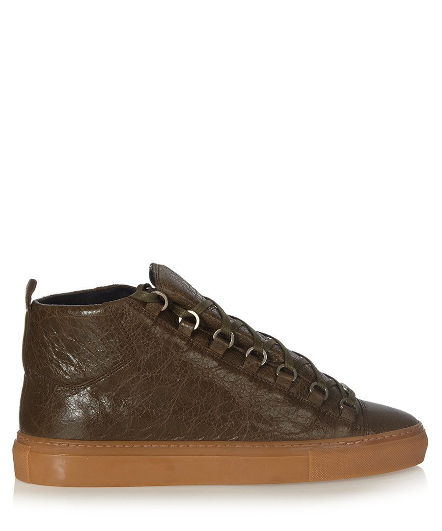 Green-brown high-top leather trainers Sale - balenciaga