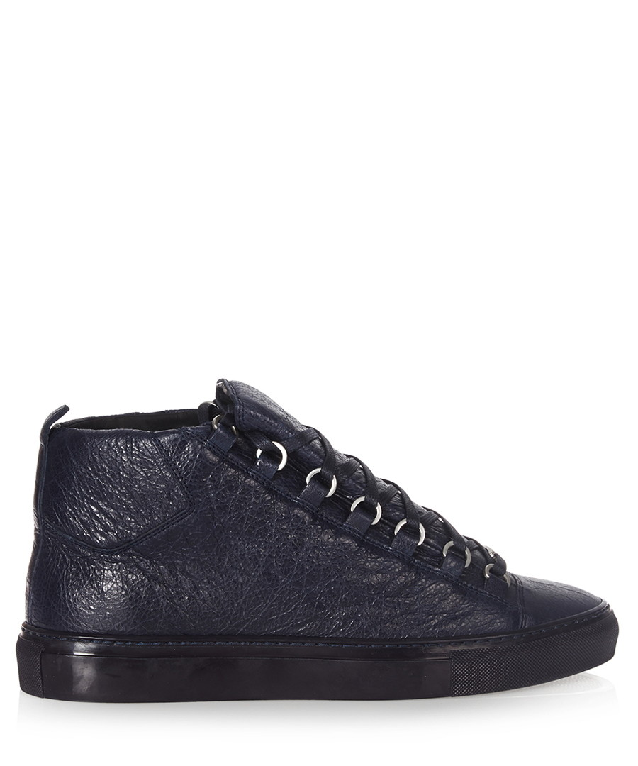 Navy high-top leather trainers Sale - balenciaga