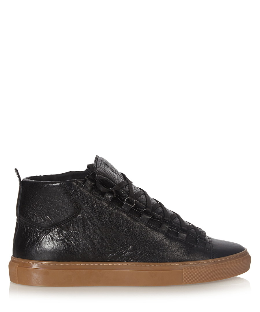 Black high-top leather trainers  Sale - balenciaga