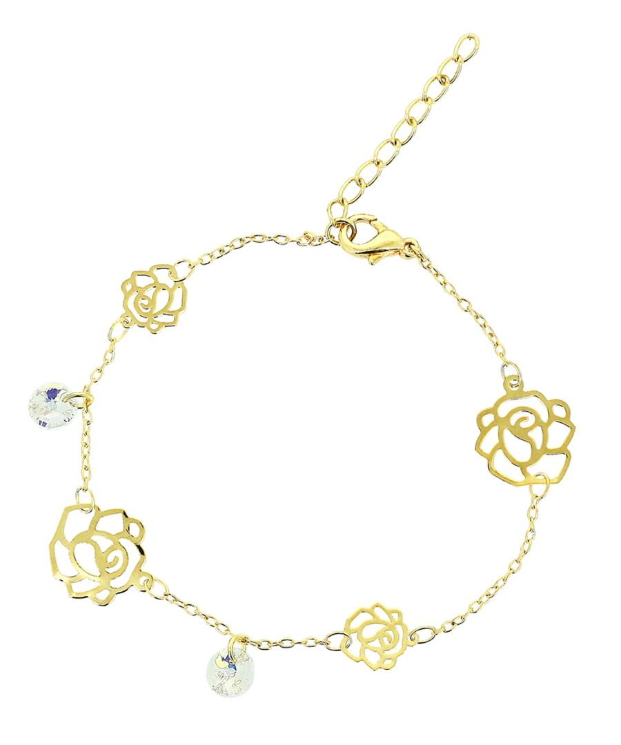 Gold-plated crystal flower bracelet  Sale - orcea