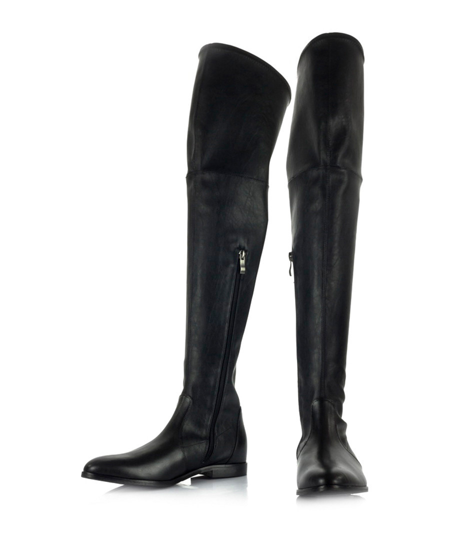 discount black leather thigh high boots secretsales