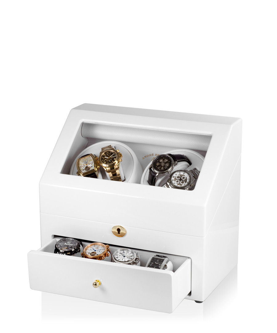 White leather large watch winder Sale - andre belfort