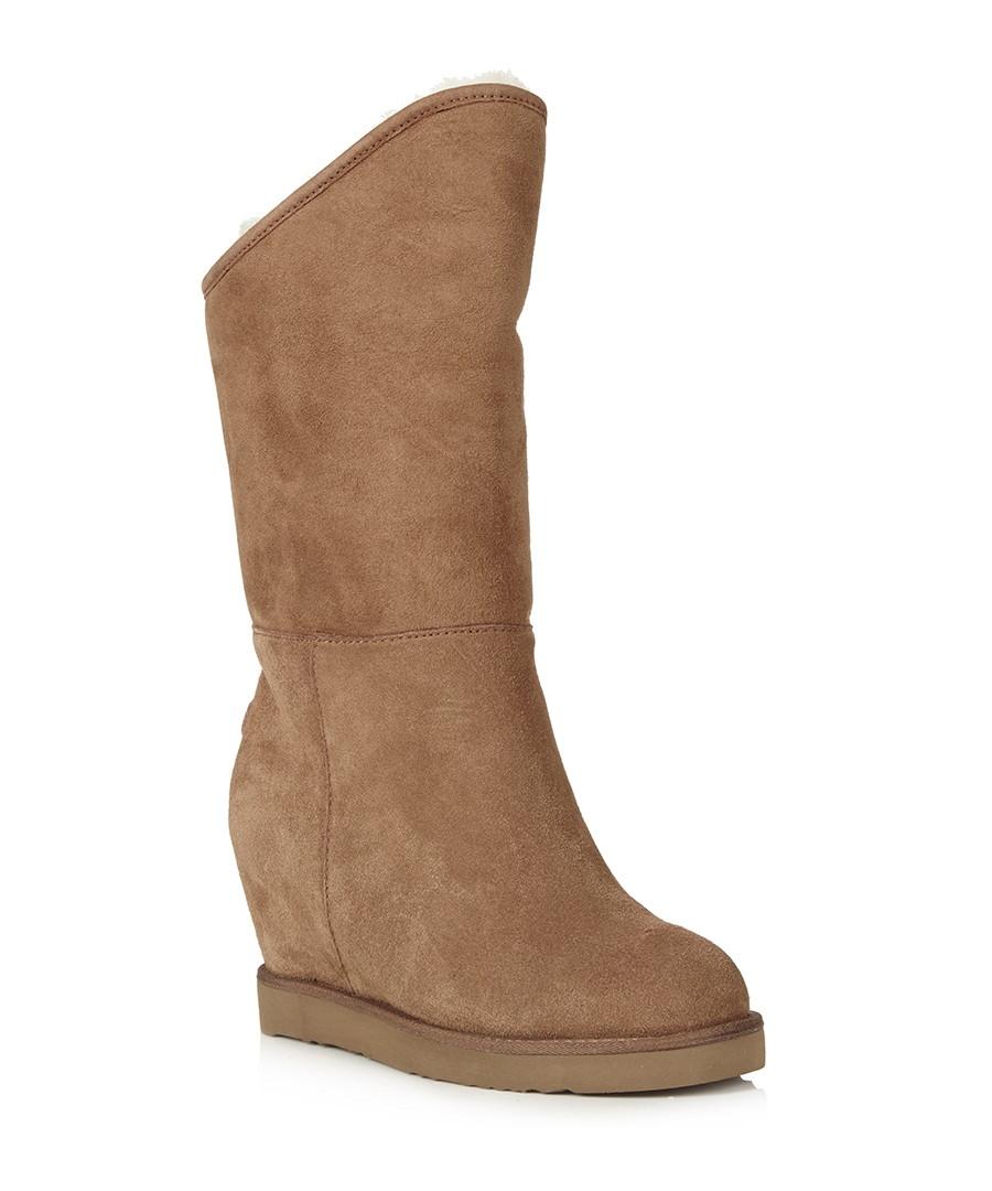 discount cosy chestnut sheepskin wedge boots secretsales
