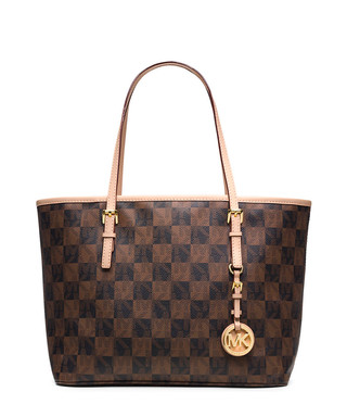 62a1896baa Jet Set brown checked small travel tote Sale - Michael Kors Sale