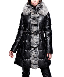 Sandra black lambskin leather coat