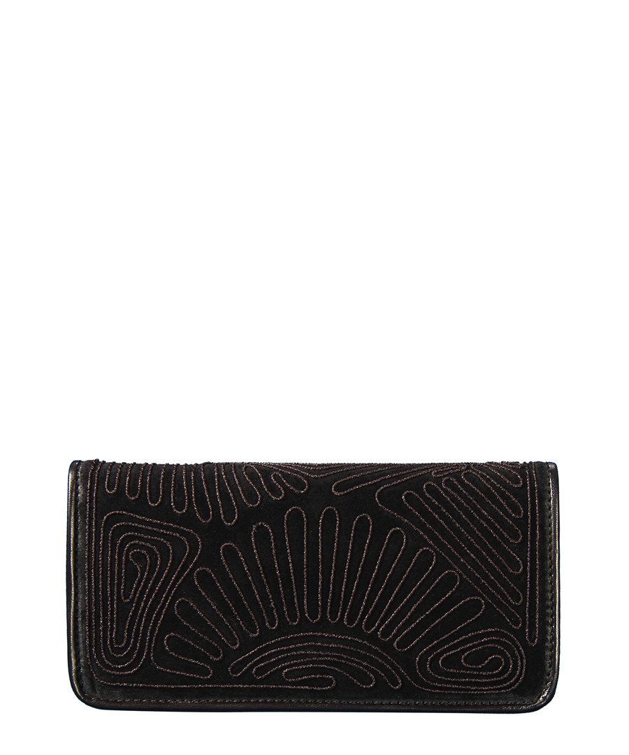 Black embroidered suede clutch Sale - SILVIO TOSSI