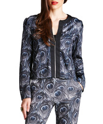 Grey peacock print cropped jacket