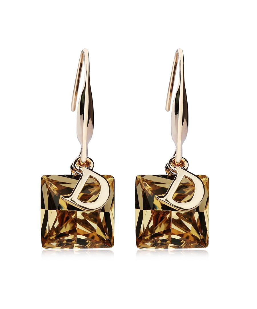 Crystal D brown gold-plated earrings Sale - caromay