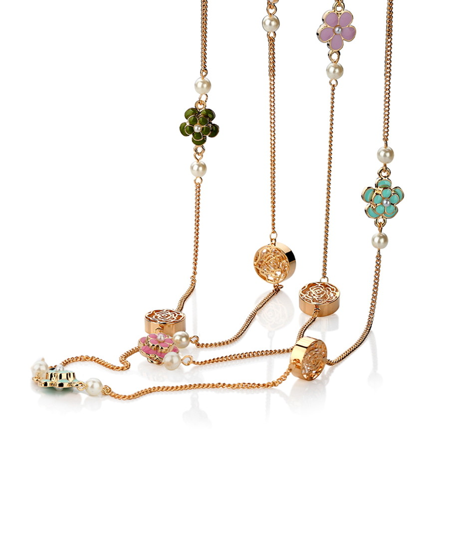 Camellia multi-layer chain necklace Sale - caromay