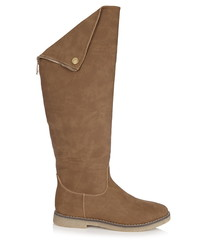 Brown knee high foldover boots