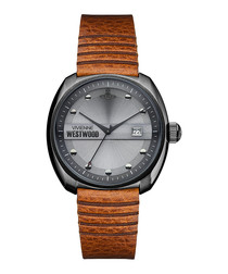 Bermondsey gunmetal & leather watch