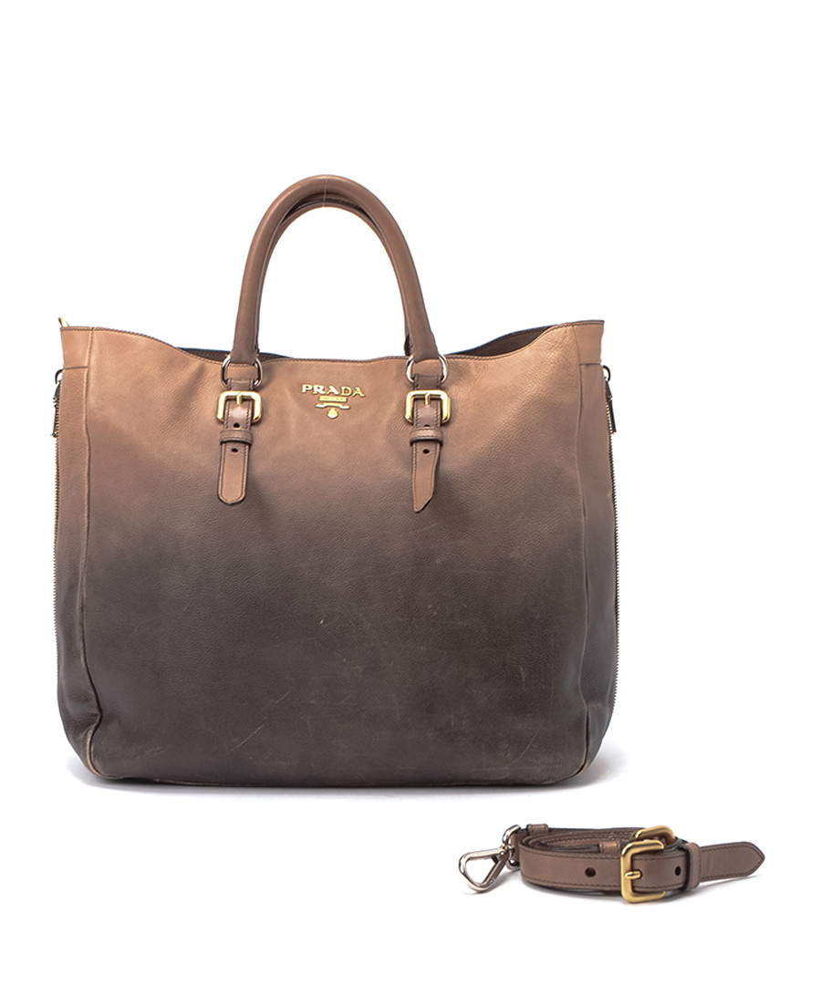 Glace two-tone leather tote Sale - PRADA fd3b9f22a2704