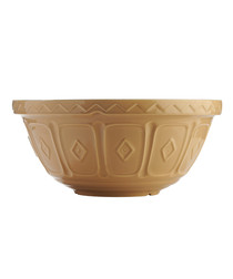 Cane brown earthenware mixing bowl 33cm