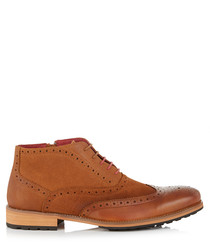 Bruno camel leather lace-up boots