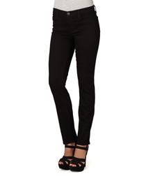 Black cotton blend mid-rise jeans