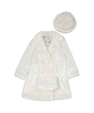 db7653dfd2e Couche Tot. Girl s 1-6yrs ivory faux fur coat set