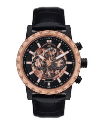 Conquête black & rose gold-tone watch