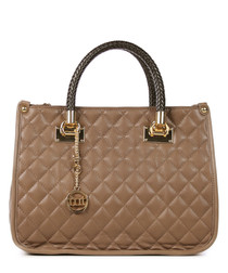 Taupe leather quilted grab bag