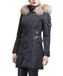 Cerise black fox fur hooded coat