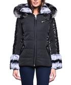 Malou black leather trim hooded coat