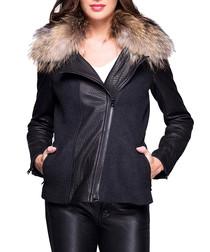 Miriama grey leather fur collar jacket