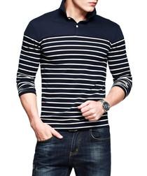 Navy pure cotton striped polo shirt