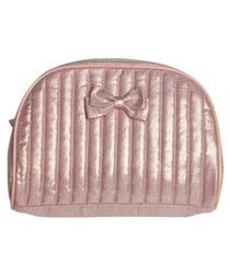 Image of Chéri metallic pink quilted wash bag