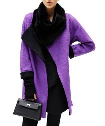 Purple wool-blend oversized coat