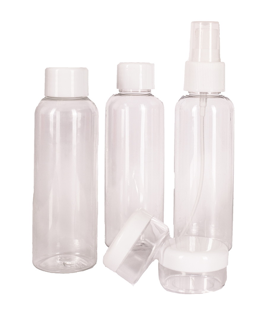 3pc transparent travel bottle set Sale - les bagagistes