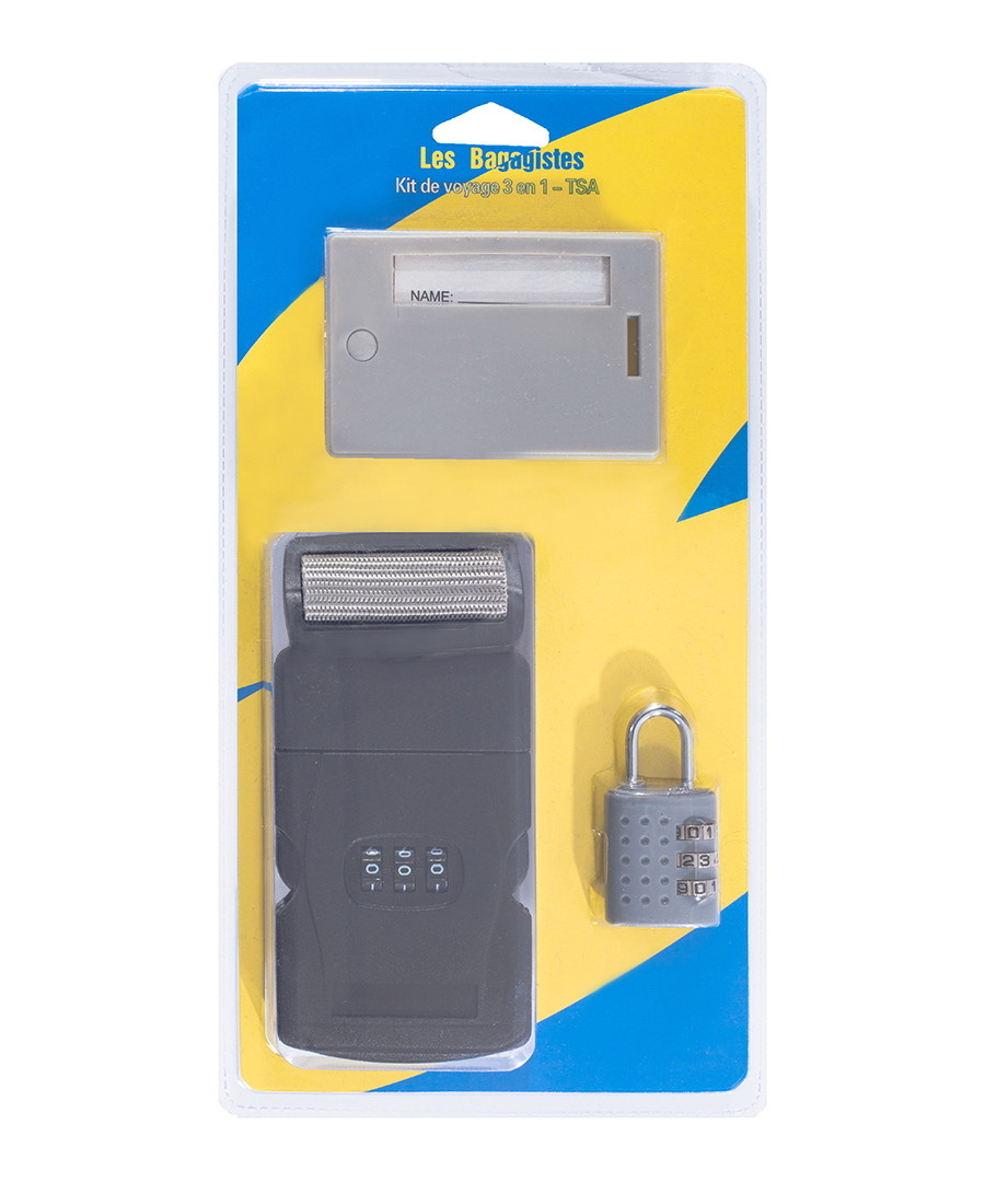 3pc grey 3-in-1 security travel kit Sale - les bagagistes