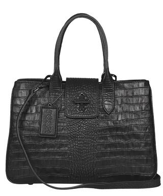 8304fb95ccf Black leather crocodile-effect tote bag Sale - Poon Sale