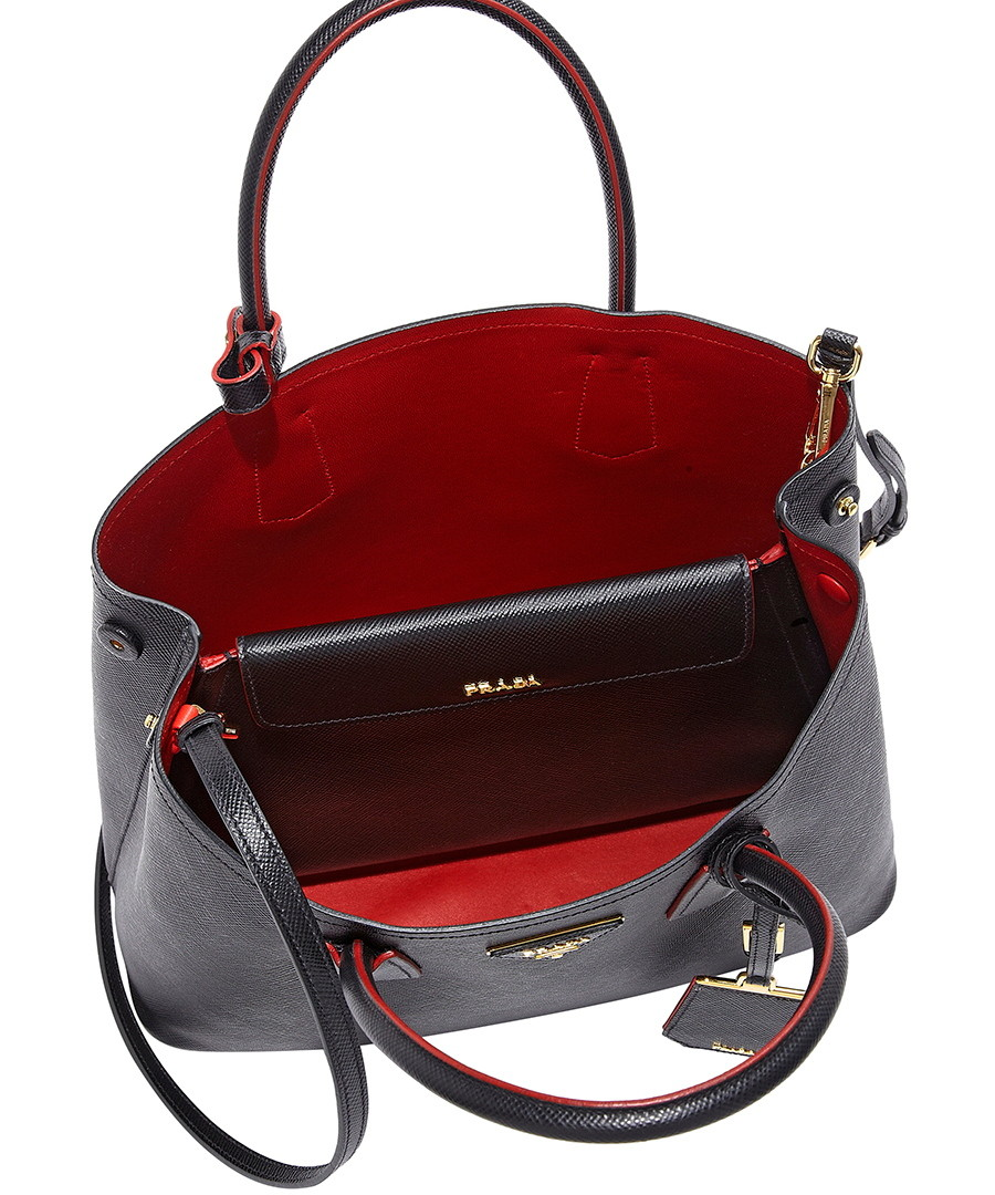 prada saffiano vernice promenade crossbody bag black - red prada saffiano bag