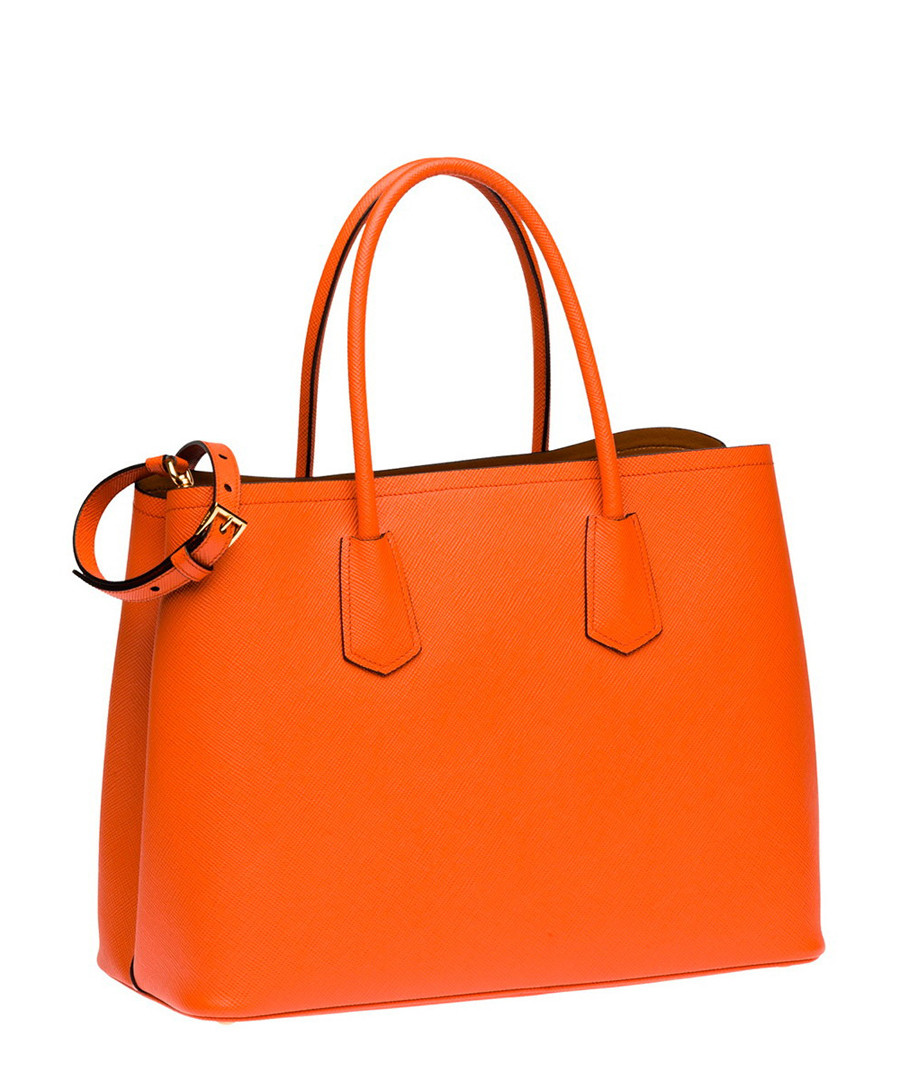 3fab3a5de5 ... Papaya saffiano leather tote bag Sale - PRADA Sale ...