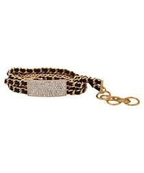 Black leather multi-chain bracelet