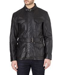 Black leather wax-effect jacket