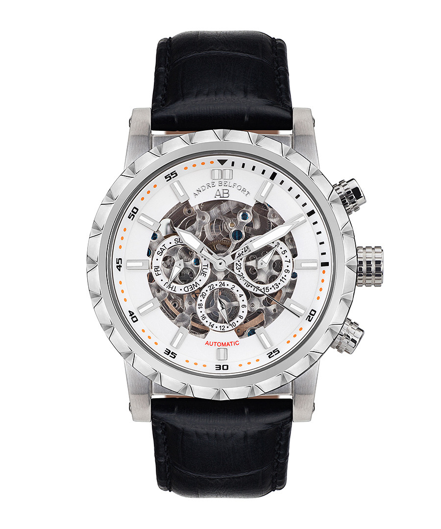Conquete Stahl steel & leather watch Sale - andre belfort